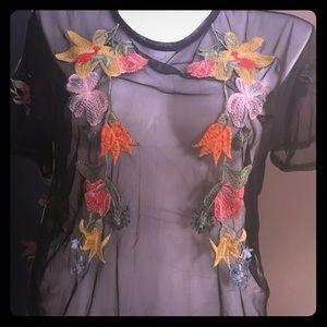 Zara mesh embroidered tee